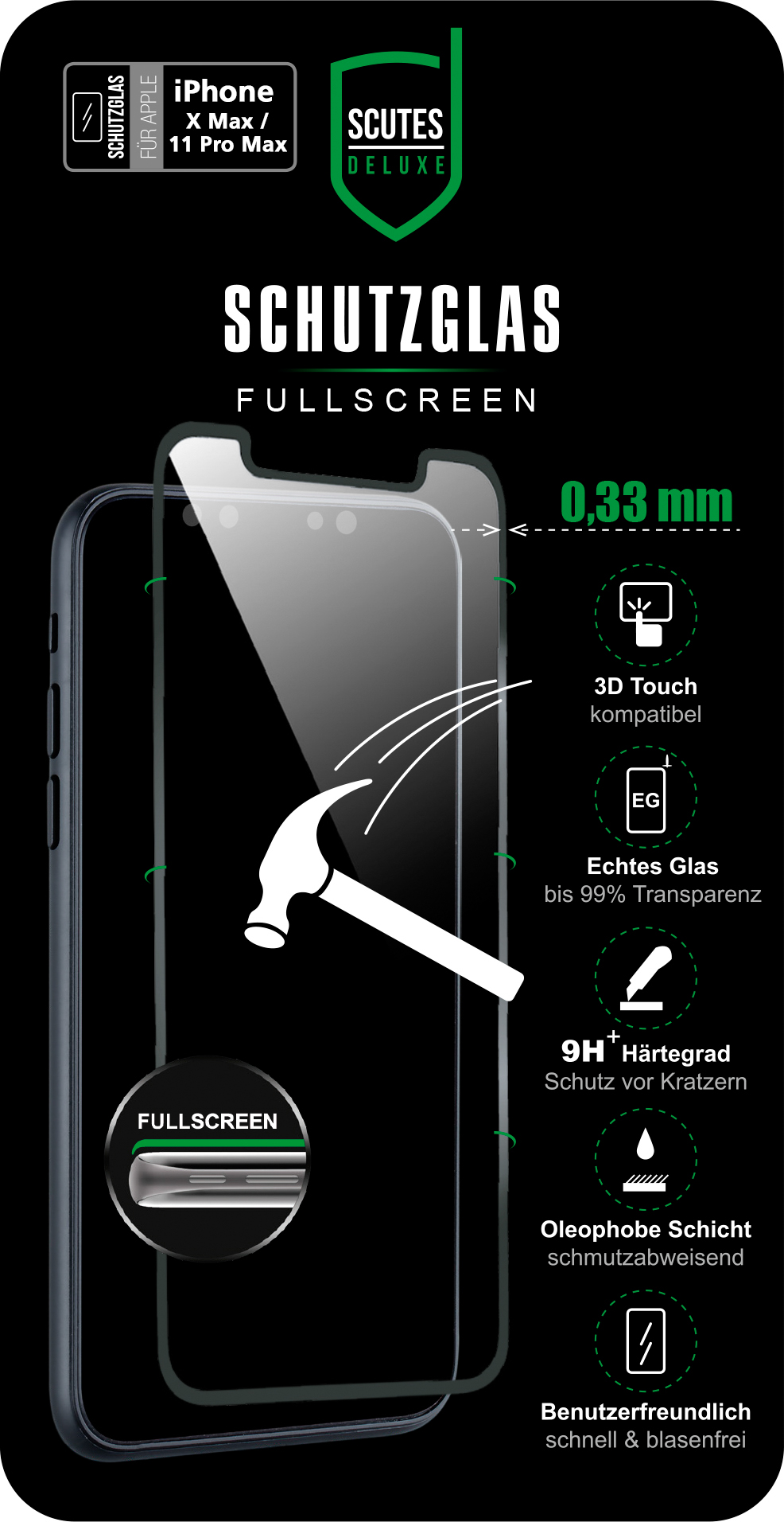 Fullscreen Schutzglas (iPhone 11 Pro Max)