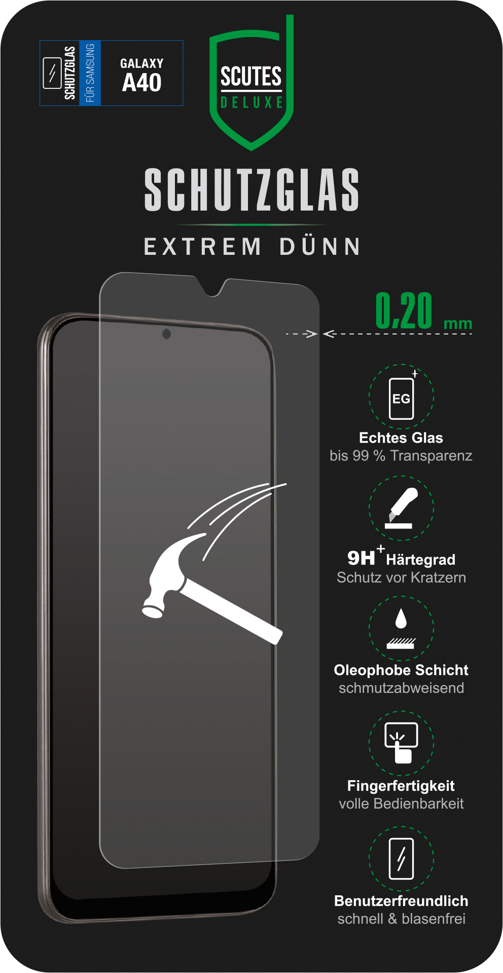 Schutzglas (Samsung Galaxy A40)