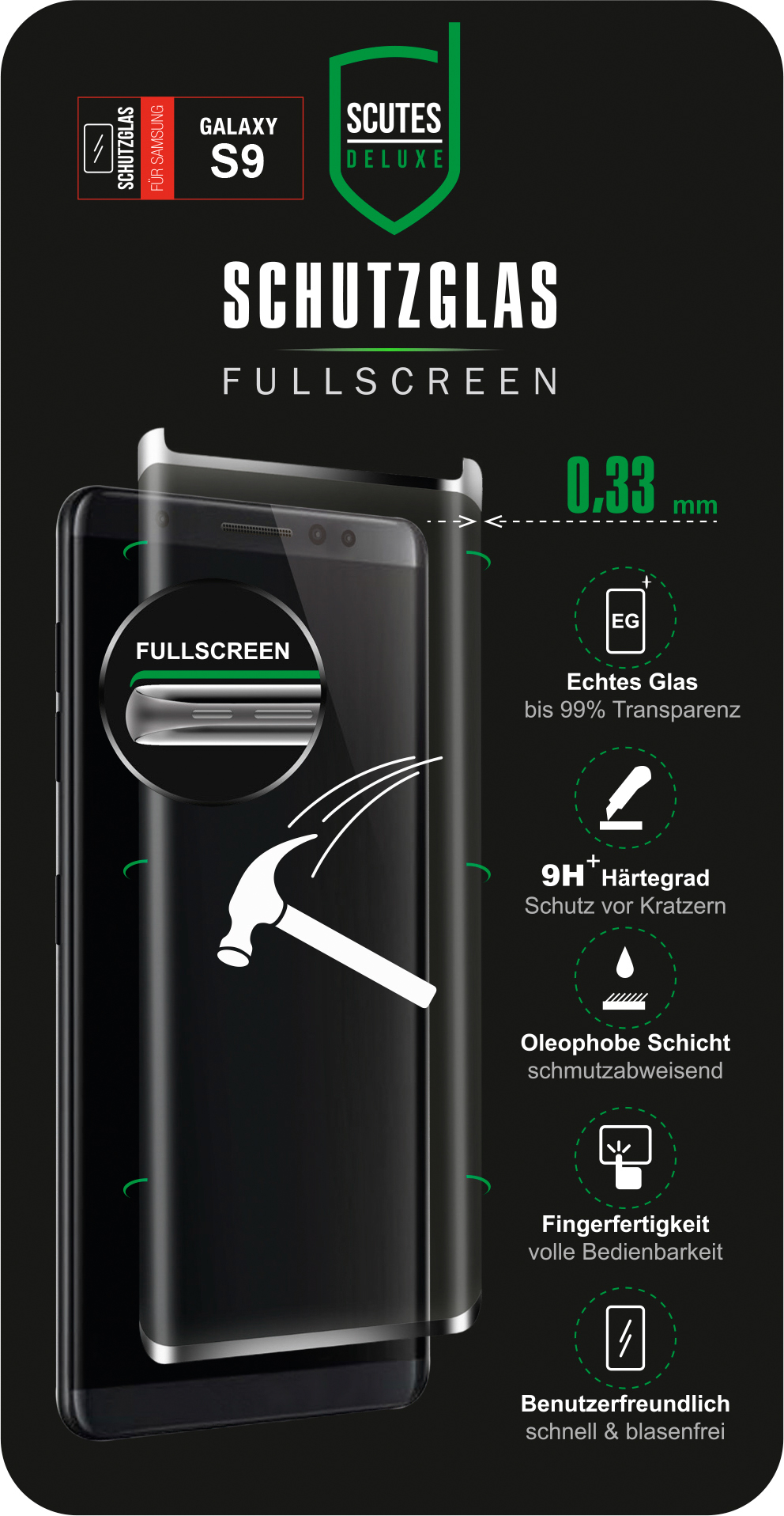 Fullscreen Schutzglas (Samsung Galaxy S8/S9)